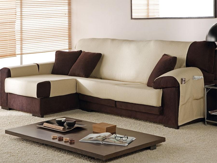 Funda chaise longue de algod n cubre chaise longue trigo - Fundas para sofa chaise longue ...